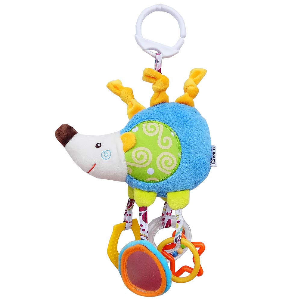Hedgehog 1PCS XBCC Baby Pushchair Stroller Toys, Infant Bed Cot Crib Attachments, Cartoon Animal Hanging Rattle Toys, Soft Flock Fabric, with color ring, Tooth gel,Mirror, Beads,6pcs