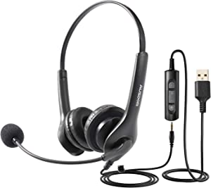 AUSDOM BS01 USB Headset with Noise Cancelling Microphone,3.5mm Wired Computer Headphones Business Headset for Skype Webinar Cell Phone Office Call Center Work at Home Video Conference Laptop PC VOIP