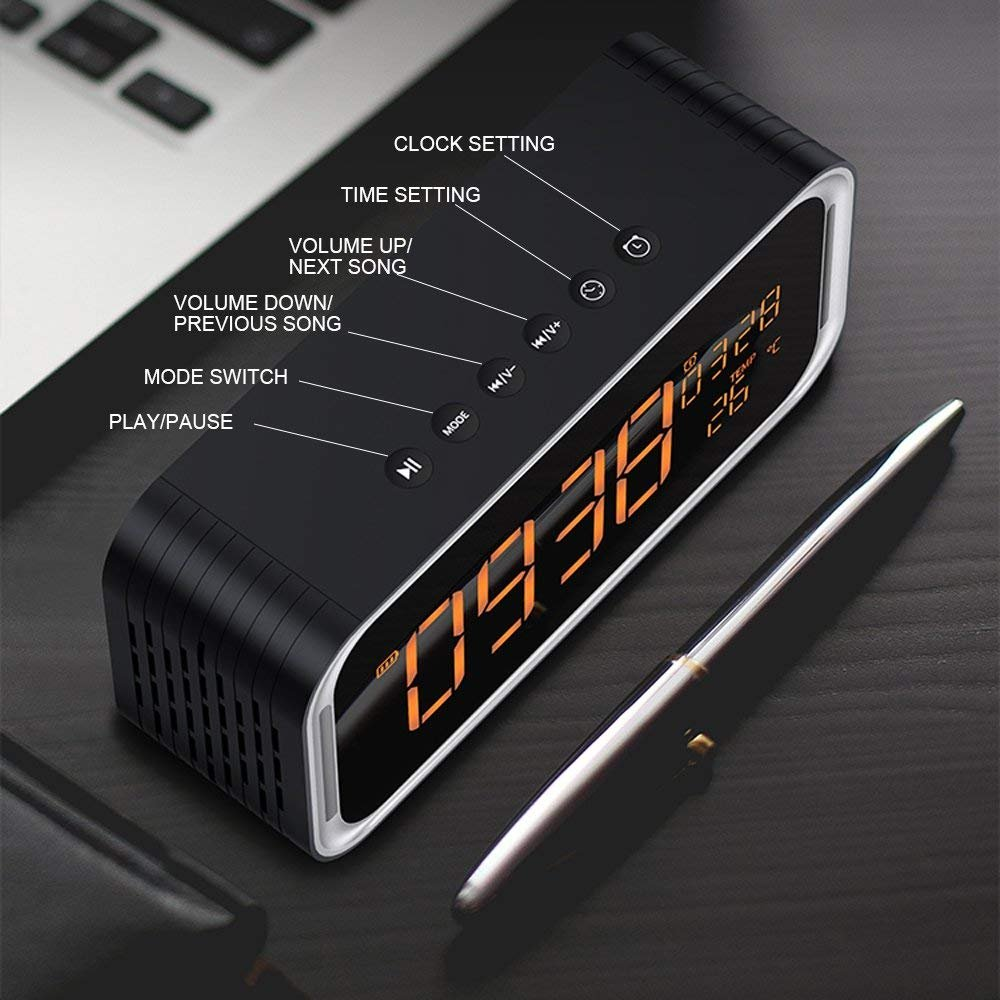 Portable Bluetooth Speaker, XPLUS 4.2 Wireless Bluetooth Speakers with LED Display, Hands-Free Phone Calling, FM Radio,Time,Date,Temperature,Snooze Function Double Alarm Clock (Black)
