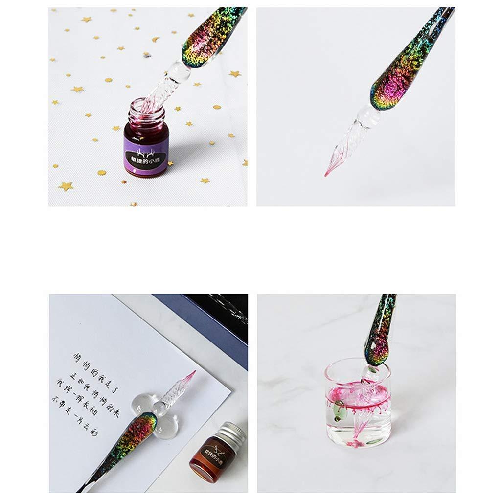 Vektenxi /Regalo di moda Cristallo Cielo stellato Penna a inchiostro di vetro Penna a tuffo in vetro per scrivere Penna stilografica Set Regalo per i tuoi amici senza inchiostro Conveniente e durevole