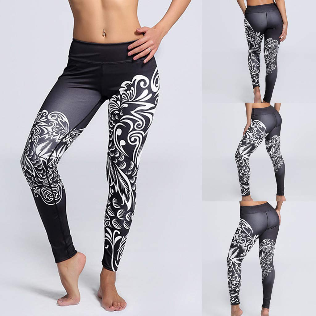 Floral Printing Yoga Pants Ankle Length Super Soft Stretchy Leggings Fitness Sports Workout Tights by JMETRIE