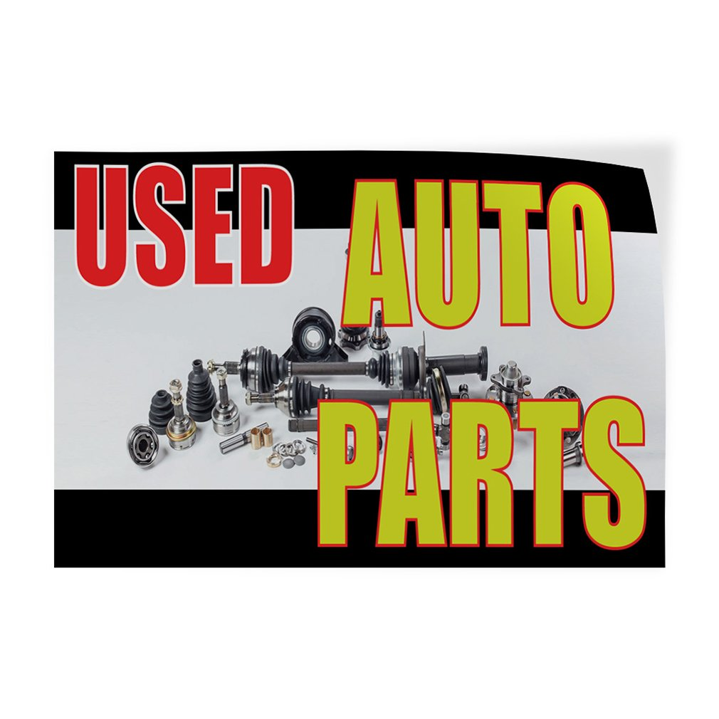 One Sticker 69inx46in Decal Sticker Multiple Sizes Used Auto Parts #1 Style C Automotive Used Auto Parts Outdoor Store Sign White
