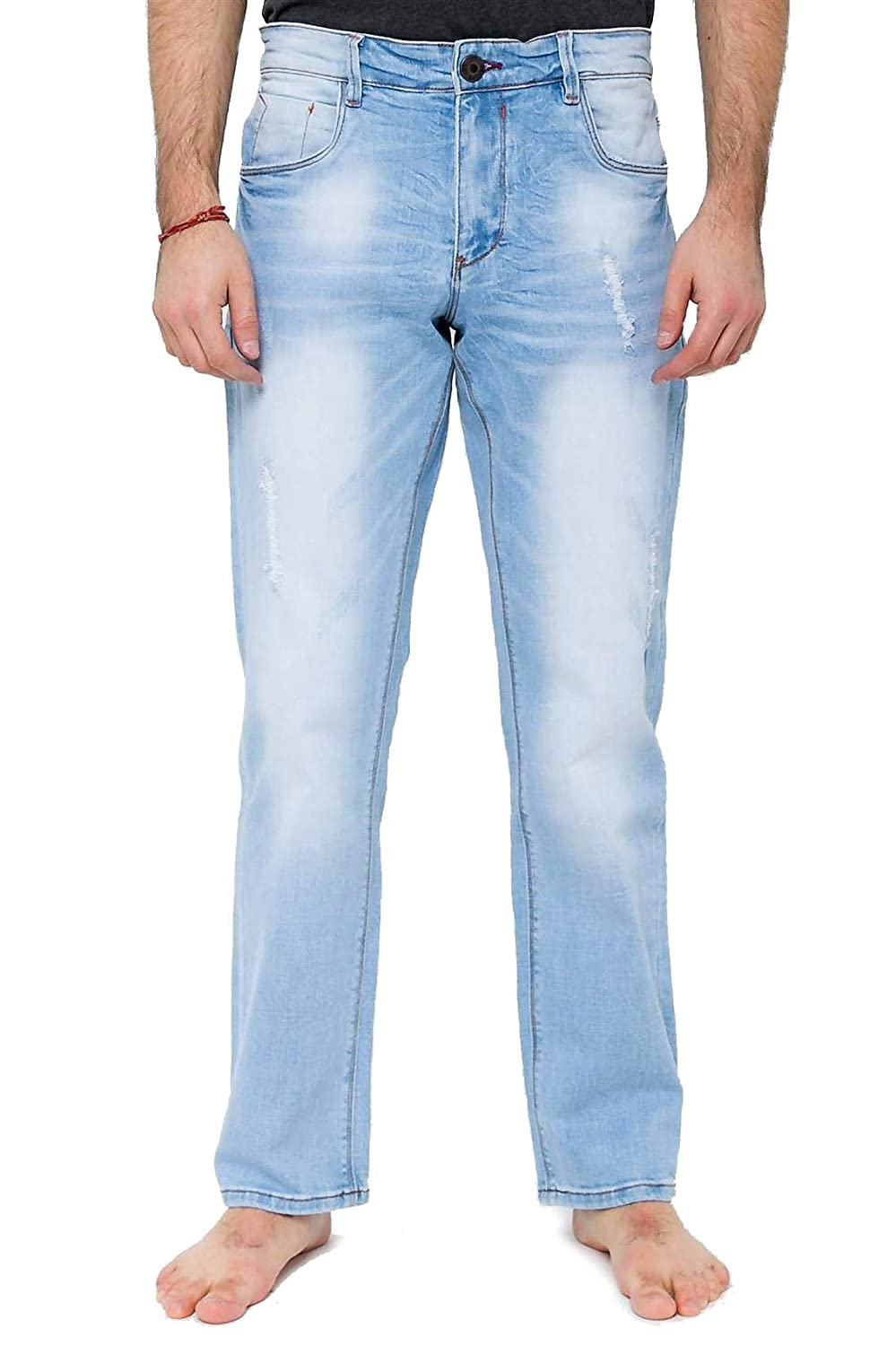 Light Blue RNZ PREMIUM Mens Slim Straight Fit Jean w Faded Look and Whiskering S734
