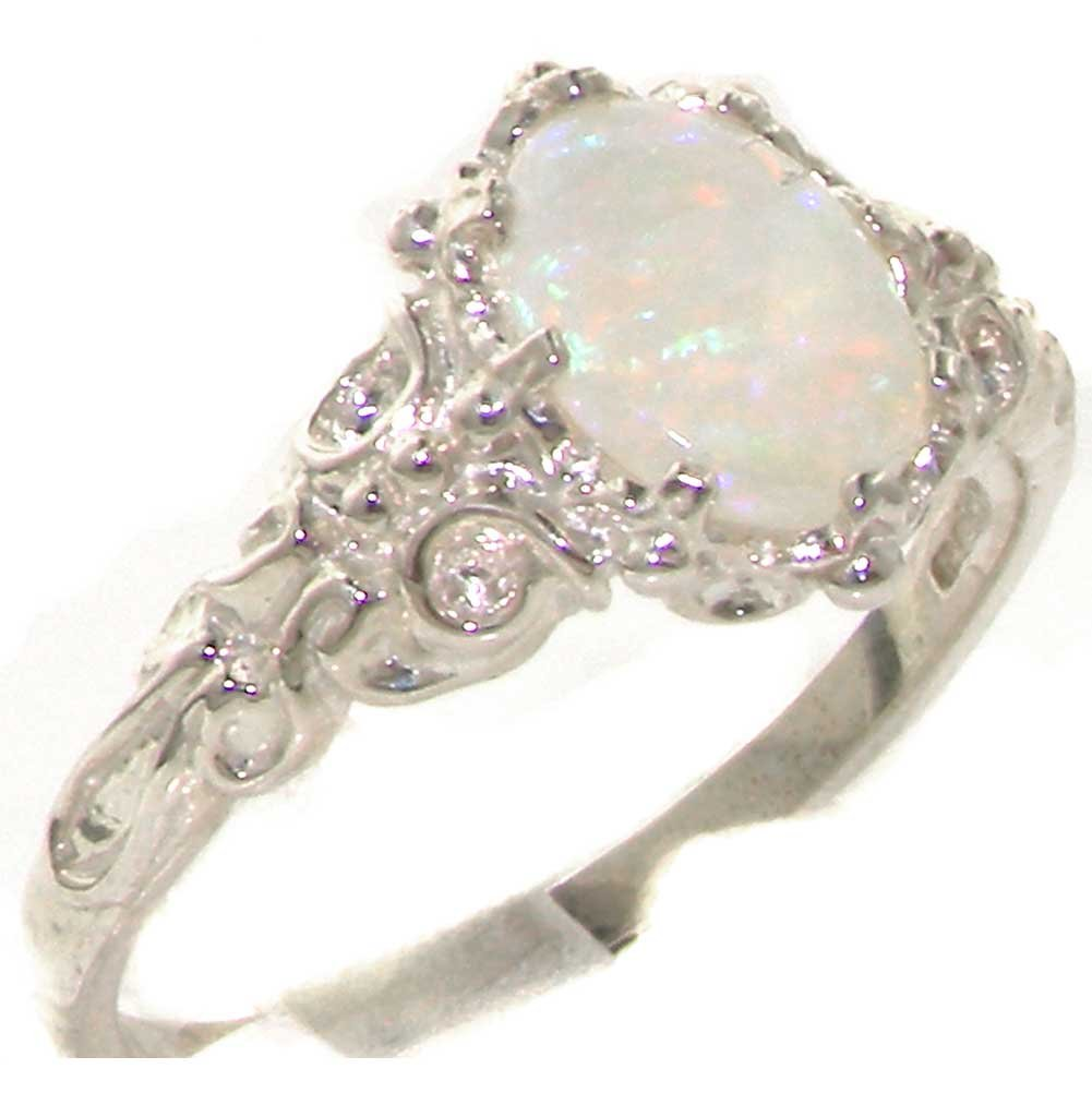 925 Sterling Silver Real Genuine Opal Womens Promise Ring - Size 9