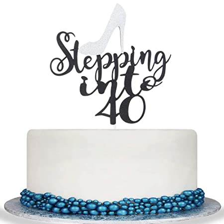 Decoración para tarta de 40 años con purpurina para ...