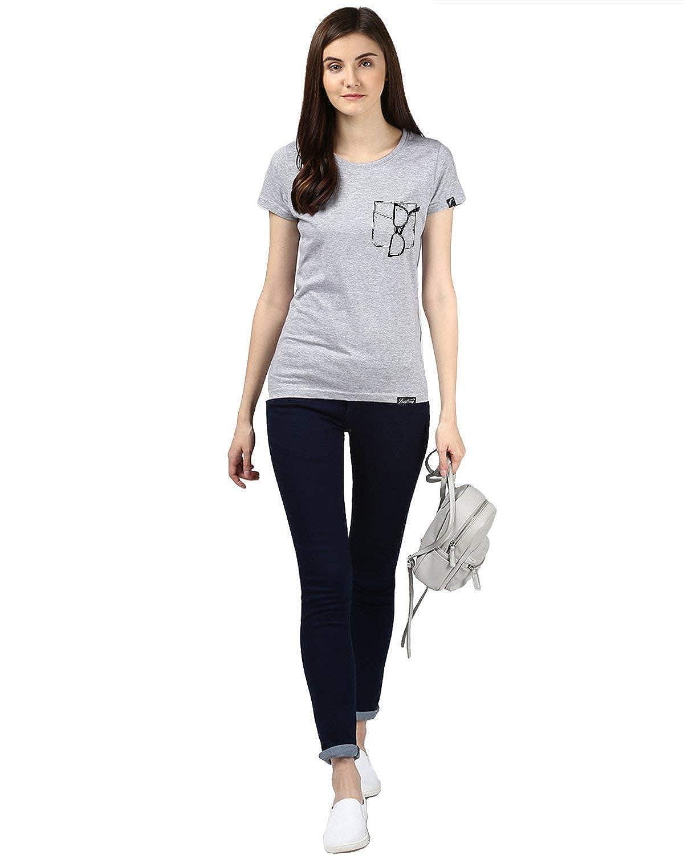 Indian Handicrafts Export Womens Half Sleeve Glass Printed Grey Color Tshirts