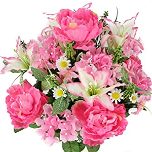Admired By Nature Artificial Full Blooming Tiger Lily, Peony & Hydrangea with Green Foliage Mixed Flowers Bush - 24 Stems for Mother's Day or Decoration for Home, Restaurant, Office & Wedding, Pink 45