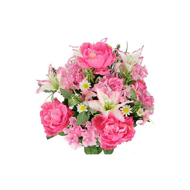 silk flower arrangements admired by nature artificial flower bush, pink