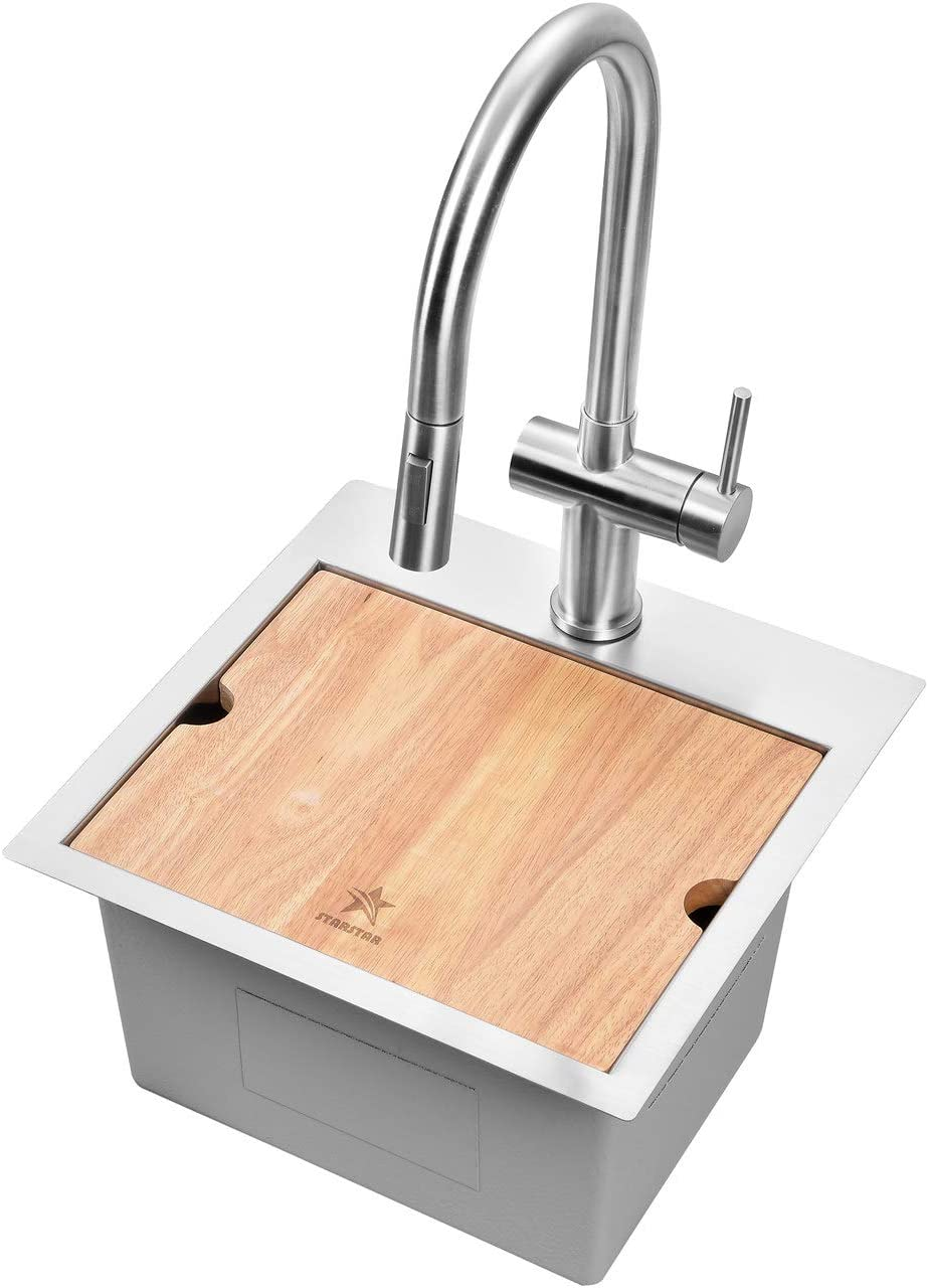 STARSTAR Workstation Ledge Top Mount/Drop-in 304 Stainless Steel Luxury Single Bowl For Kitchen,Yard, Office, Bar, Laundry Sink (15 x 15)