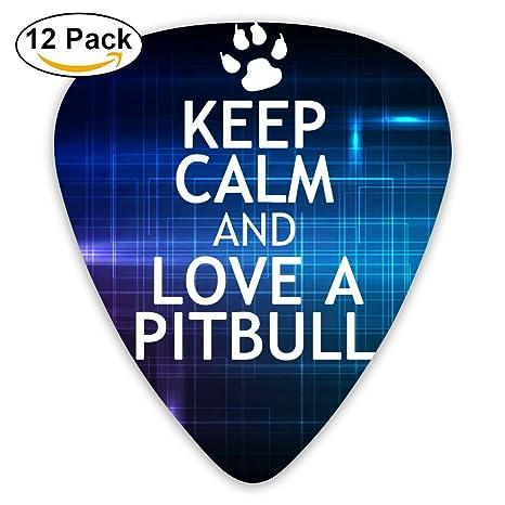 """Púas para guitarra eléctrica con texto en inglés""""Keep Calm And Love A Pitbull"""""""