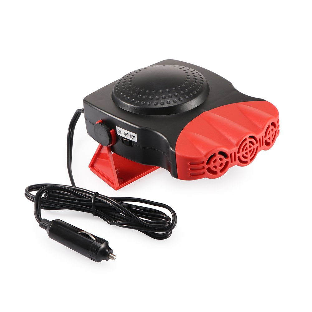 12V Portable In Car Heater Fan Window Defroster Defogger Electric Car Heater Warm Wind Cigarette Socket 150W Red