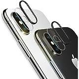 改善版 iPhoneX 専用 カメラフイルム iPhoneXフィルム レンズ保護リング 0.1mm 強化ガラス 指紋防止 高硬度9H 自動吸着 99%高透過率 耐衝撃 飛散防止 日本製旭硝子素材 カメラ液晶保護フィルム(iPhoneXに対応)