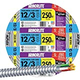 SOUTHWIRE 68583401 Armorlite Type Mc Aluminum Armored Cable, 12/3, 600V, 250' Coil, 1 lb.