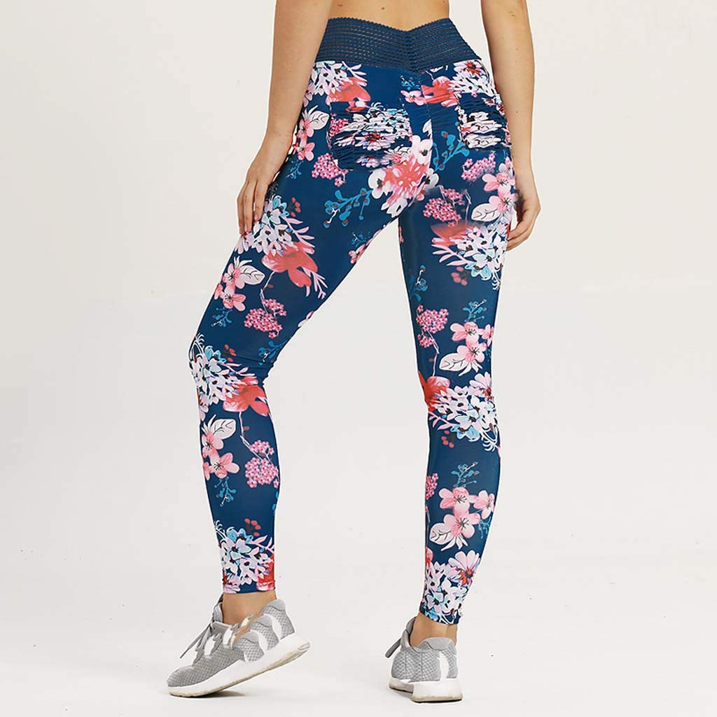 dd9e2f5c1 Amazon.com  TUSANG Women Trousers Ladies Fitness Yoga Running Training Tight  Elastic Printed Slim Fit Comfy Yoga Pants  Clothing