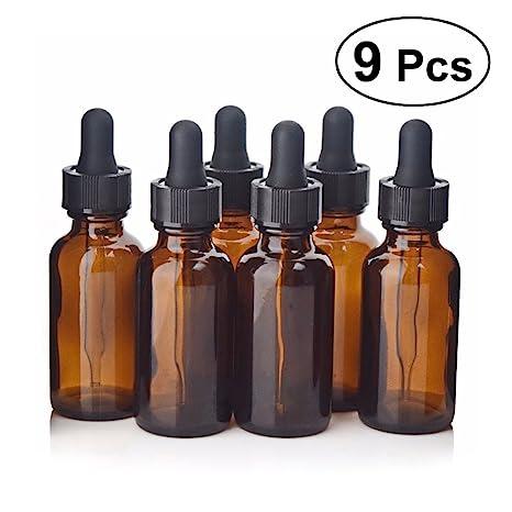 Botellas de vidrio para aceites esenciales, Frcolor 9 piezas 30 ml Botella de ámbar vacía