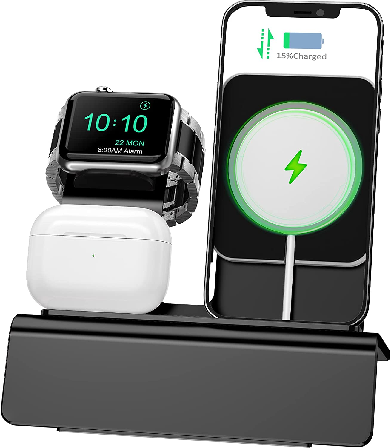 Yestan Charging Dock Compatible with Apple Watch Magsafe Stand, iWatch 6/SE/5/4/3/2/1, AirPods Pro and iPhone Series 12/11/Xs/X Max/XR/X/8/ 8P/7/7P/6S/6S Plus(Charger & Cables Needed) Black