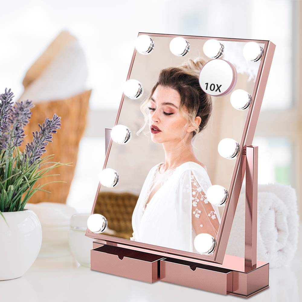 Large Vanity Mirror With Lights – Hollywood Style Makeup Vanity Mirror,3 Color Lighting Model, 360 Rotation Cosmetic Mirror With 12 Detachable Dimmable Bulbs With Storage Box For Dressing Table Rose