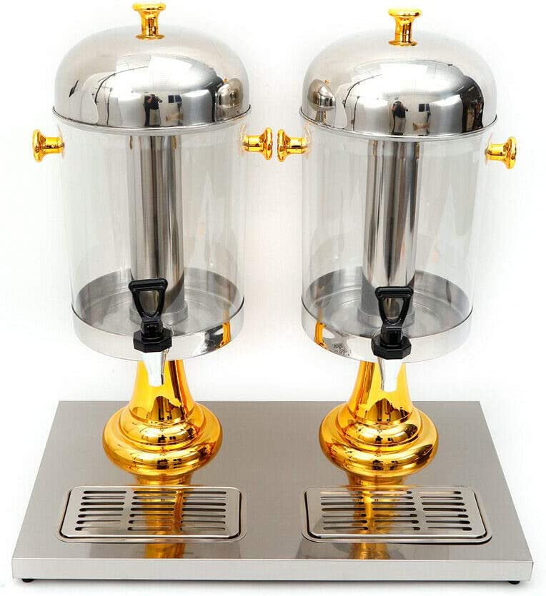 WUPYI Double Beverage Dispenser, Juice Drink Dispenser Frozen Cold Drink Dispenser with Recessed Drip Trays,2.1 Gallon Each Jug,for Commercial,Party,Hotel (Gold)