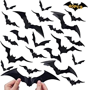 Monyus Halloween Bats Wall Stickers, 40 Pack 3D Bat Decals Home Decor, PVC Removable Halloween Thanksgiving Christmas Birthday Party Favor for Wall Window