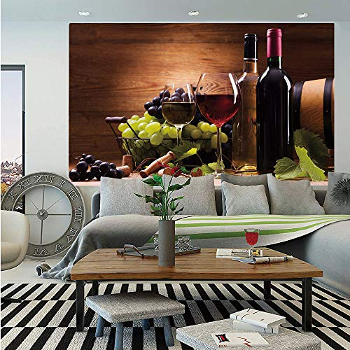 Wine Huge Photo Wall Mural,Glasses of Red and White Wine Served with Grapes French Gourmet Tasting Decorative,Self-Adhesive Large Wallpaper for Home Decor 100x144 inches,Brown Ruby Light Green