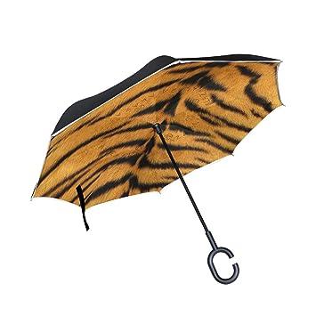 MALPLENA Tiger Fur Patrón Auto Open Paraguas Abierto Abierto Parte Abajo Reverso Inverso Paraguas para Mujer