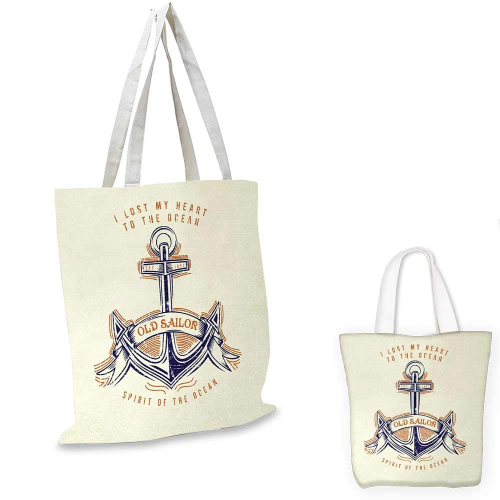 16x18-13 Anchor canvas messenger bag Old Sailor Spirit Sign Firmly Anchored to the Ocean Image in Vintage Style canvas beach bag Orange Blue Yellow
