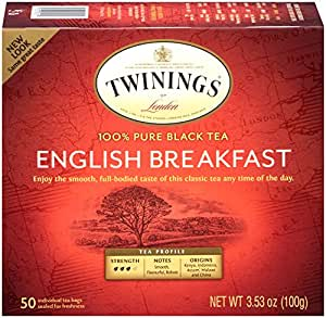 Twinings English Breakfast Tea, Tea Bags, 50 Count Boxes (Pack of 6)
