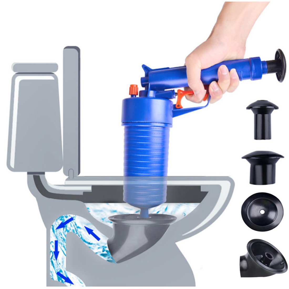 High Pressure Air Power Drain Blaster gun,PERTTY Cleaner Unclogs Toilet Pump Hand Powered Plunger Set for Bath Toilets, Bathroom, Shower, kitchen Clogged Pipe Bathtub(Blue) by PERTTY