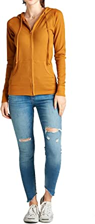 FASHION BOOMY Women's Basic Cotton Long Sleeve Zip-Up Pocket Active Lightweight Stretchy Casual Comfy Hoodie Jacket
