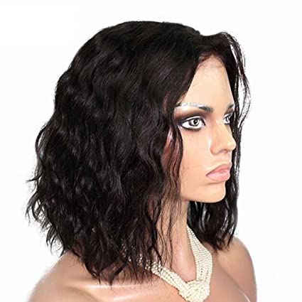 Babysbreath Pelucas cortas onduladas negras sintéticas naturales de Bob de 13.7Inch pelucas resistentes al calor