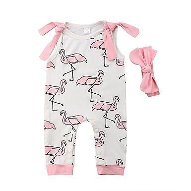 0731daa79b8 Infant Baby Girl Summer Rainbow Stripe One Piece Romper Bodysuit Clothes  Set (Crane