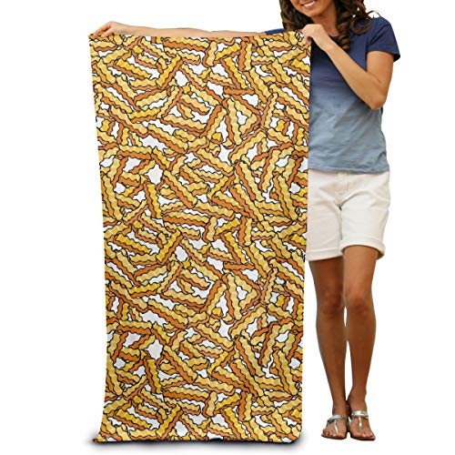 French Beach Towel - 100% Cotton Beach Towels 80x130cm Quick Dry Towel for Swimmers French Fries Beach Blanket