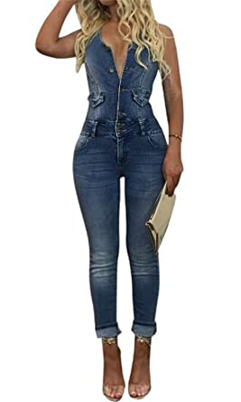 4a6fcf08560 MAXIMGR Women s Bodycon Sleeveless Denim Button Down Backless Long Pants  Jumpsuit Size S(US 6