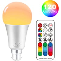 iLC LED Light Bulbs Colour Changing Dimmable 10W B22 Bayonet RGBW Lights, 4th Geneartion RGB Warm Coloured- Dual Memory - 120 Color Choices - 60 Watt Equivalent Remote Controller Included