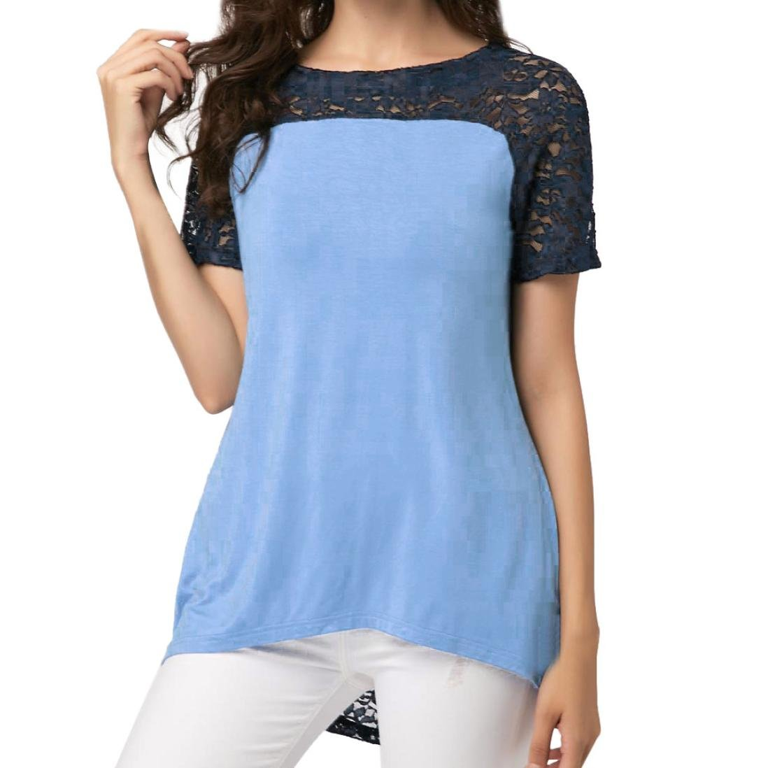 UK Womens Lace Splice Tunic Top Club Party Off Shoulder Blouse T Shirt Size 8-26
