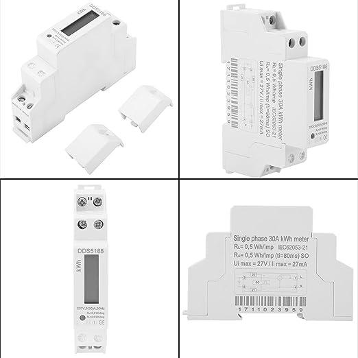 Walfront 220V DDS5188 LCD Digitaler DIN-Schienen-Stromz/ähler f/ür Kilowatt Hour Kwh Meter 5-30A