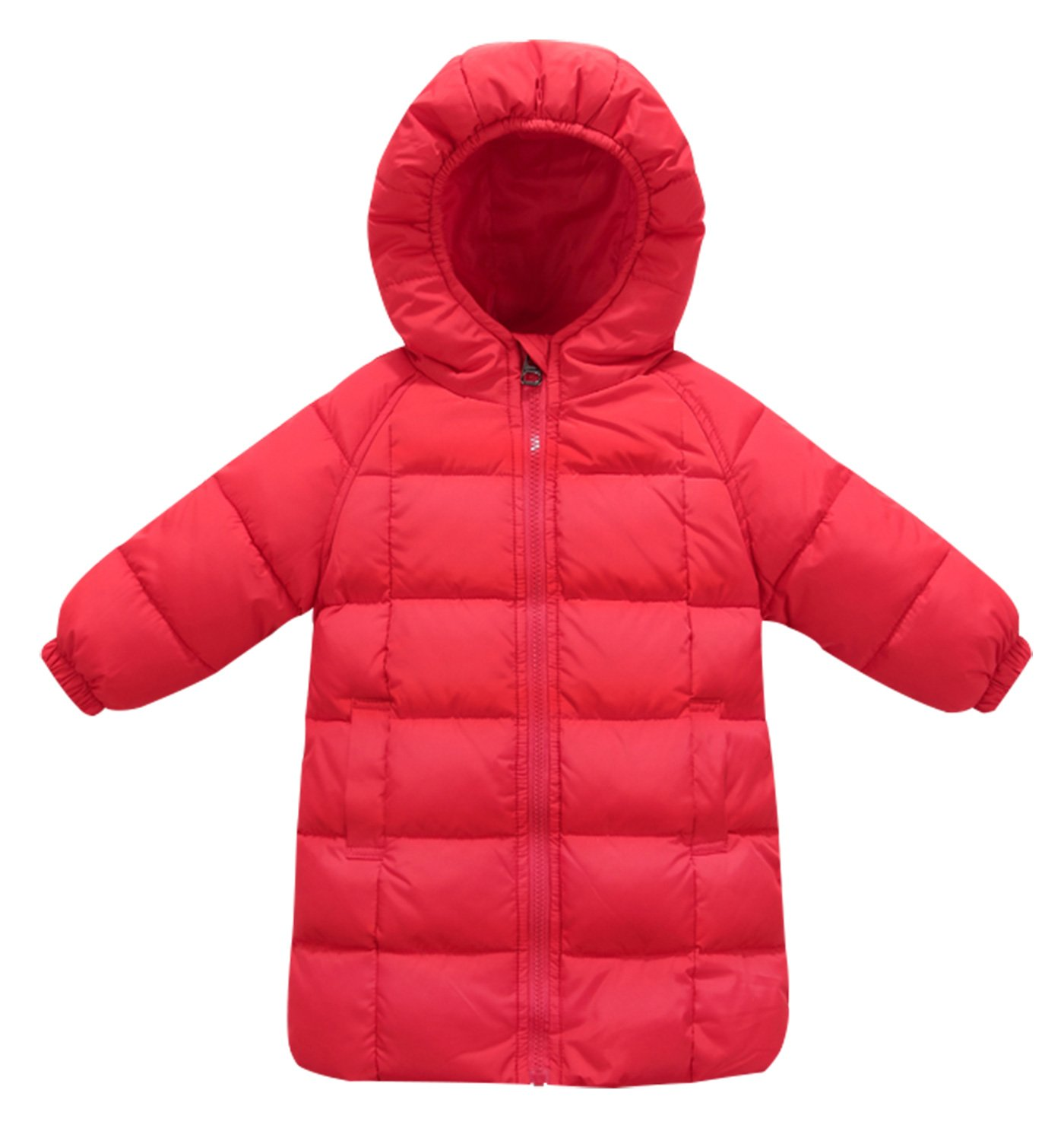 DiNuoTongXing Kids Winter Unisex Hooded Solid Long Down Coat Jacket Size 120cm - Red