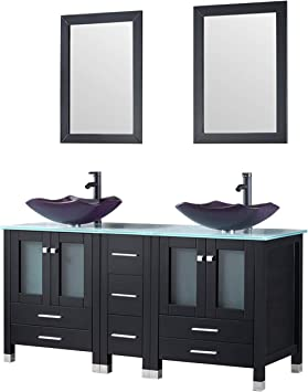 Walcut 60 Vanity Black Bathroom Vanity And Sink Combo Solid Mdf Cabinet With Purple Double Glass Vessel Sink And Faucet Pop Up Drain Combo Amazon Com