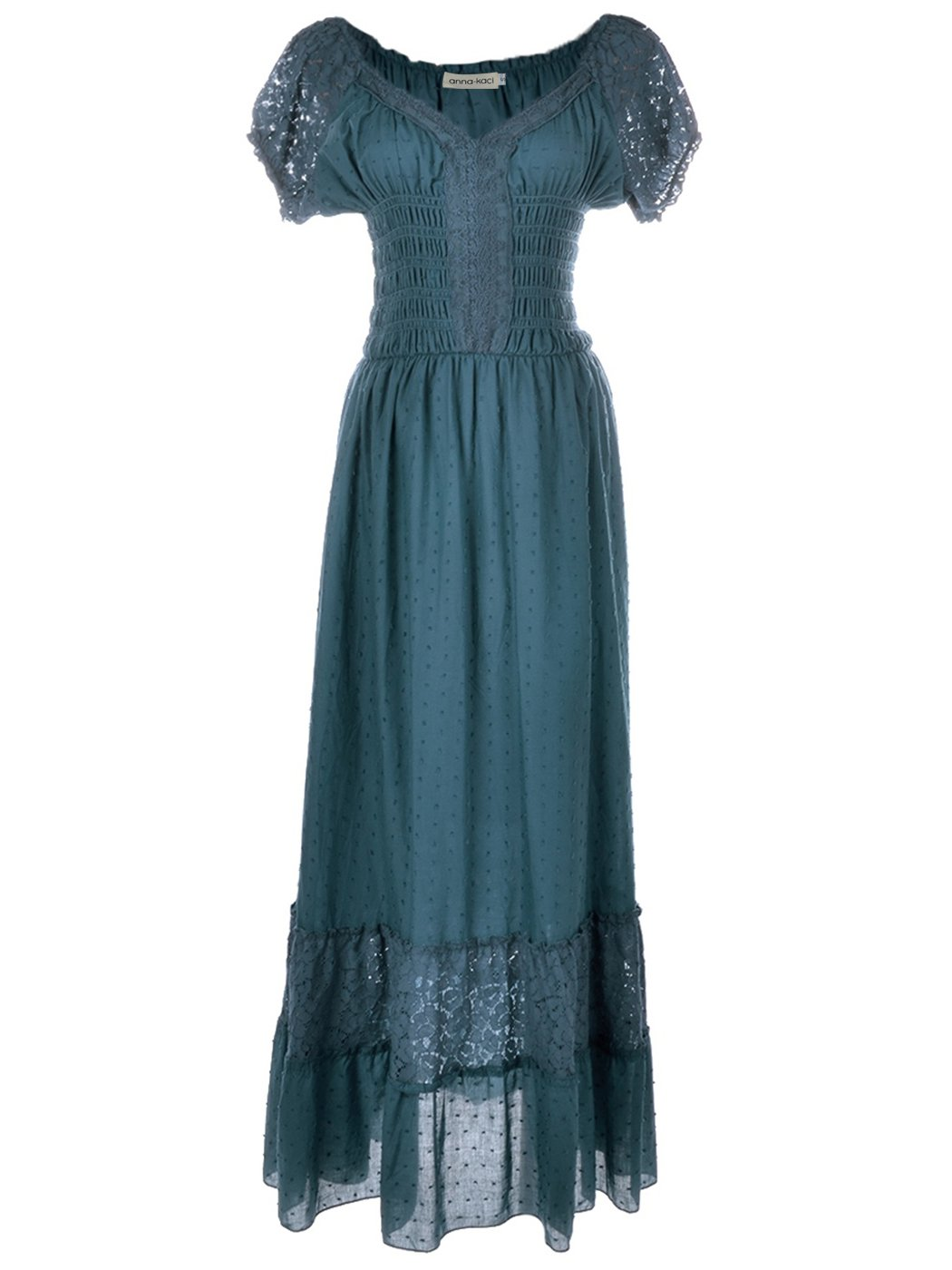 Renaissance Maiden Inspired Teal Blue Lace Cap Sleeve Trim Chemise Underdress - DeluxeAdultCostumes.com