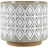 "Rivet Geometric Ceramic Planter, 8.7""H, White and Grey"