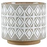"Rivet Geometric Ceramic Planter, 8.7"" H, White and Grey"