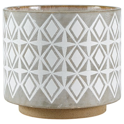 Rivet Geometric Ceramic Indoor Outdoor Large Planter Flower Pot - 8.7 Inch, White and Grey