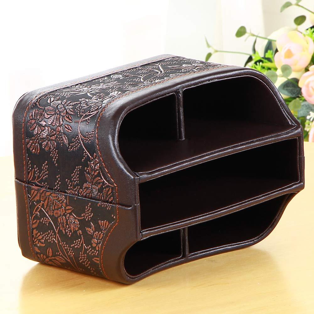 YAPISHI PU Leather 360 Degrees Rotatable Organizer Remote Control/Controller Organizer, Spinning TV Guide/Mail/Media Desktop Organizer Caddy Holder (Brown Embroidery) by YAPISHI (Image #5)