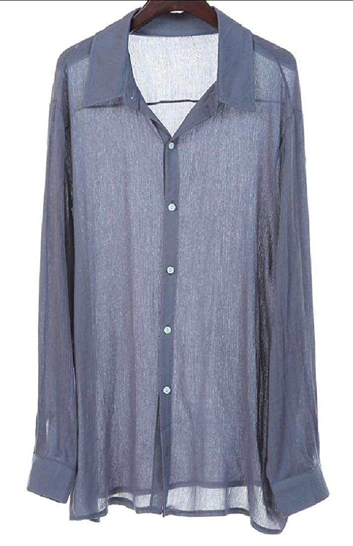 WSPLYSPJY Mens V Neck Cotton Linen Button Down Shirts Long Sleeve Casual Top