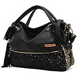 Enerhu Fashion Sexy PU Leather Bag Paillette Shoulder Bags Handbags for Women Leopard Print/ Black