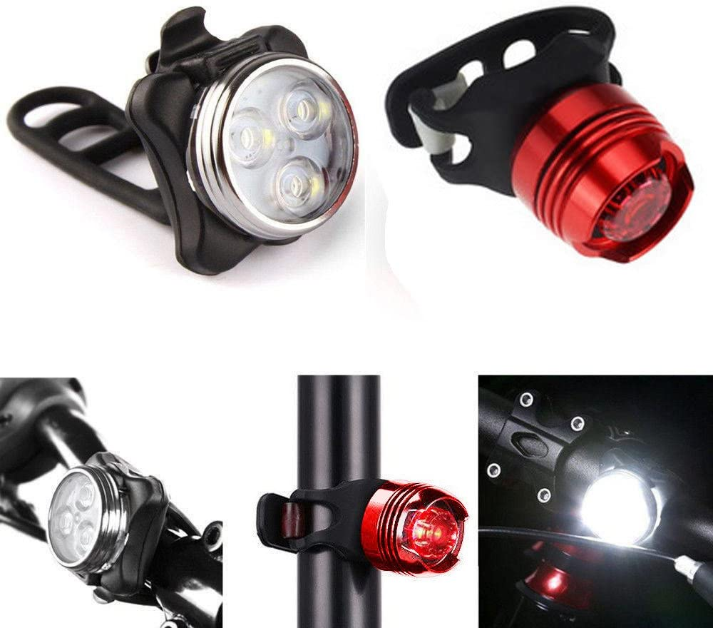 Ikevan Bicycle Light Rechargeable LED Bike Light Bicycle Lamp Set Front Light Tail Light USB