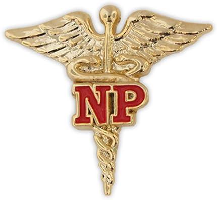 PinMart/'s Nurse Practitioner Red NP Gold Caduceus Lapel Pin
