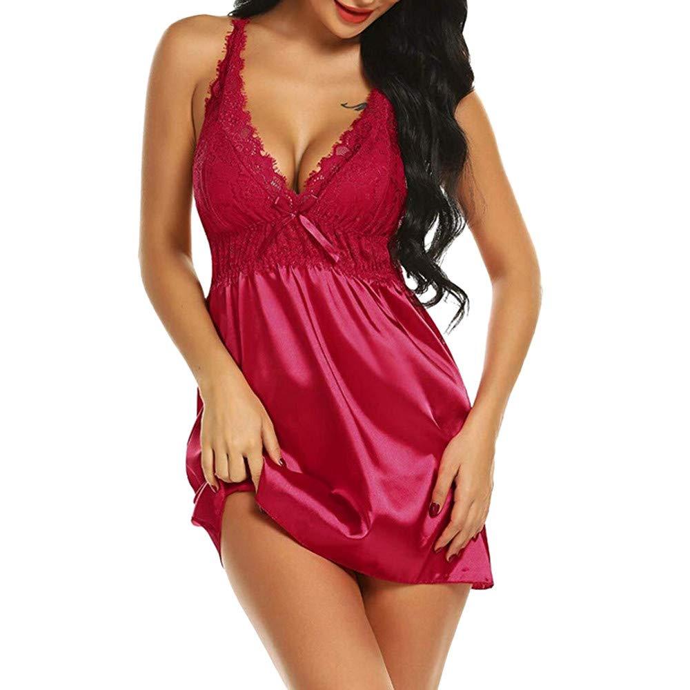 SamMoSon Plus Size Bow Lace Sleepwear Babydoll Underwear Nightdress