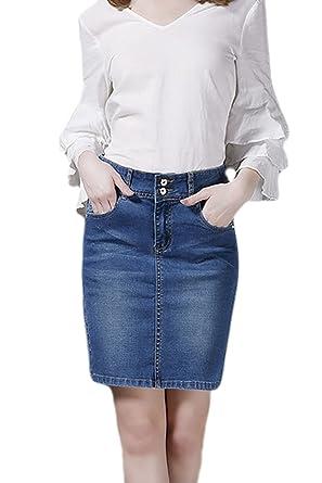 7be8e2156 Women Denim Skirt High Waisted Stretchy Plus Size Mini Skirts:  Amazon.co.uk: Clothing