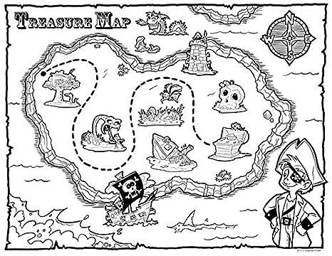 Guajolote Prints, foglio da colorare con mappa del tesoro del pirata ...